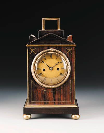 A Regency rosewood striking small travelling clock