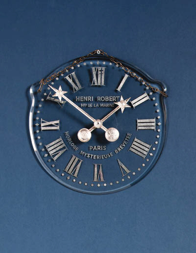 A French glass dial mystery clock