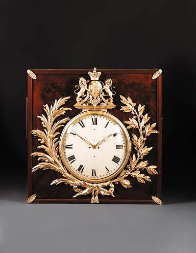 A George III ormolu mounted mahogany large wall clock