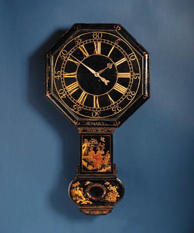 A George II black Japanned tavern clock