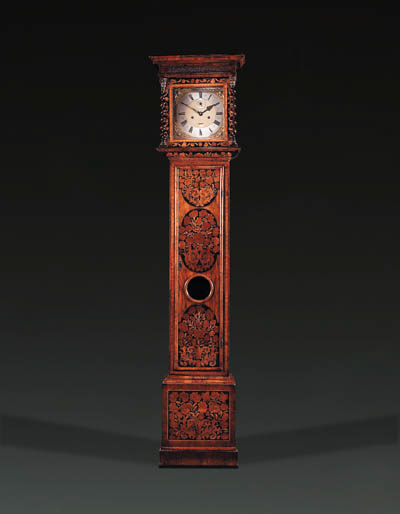 A William and Mary walnut and floral marquetry longcase clock