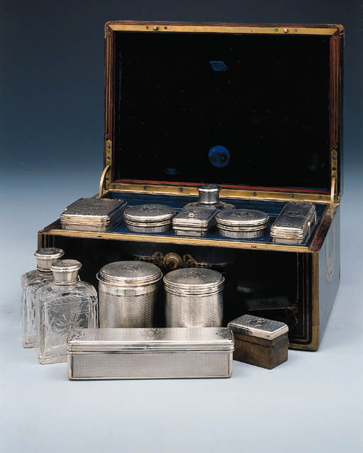 A French silver-mounted cut-glass travelling dressing-table service