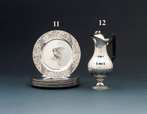 A set of twelve French silver dinner-plates