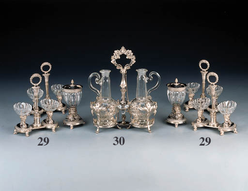 A set of four French silver-mo