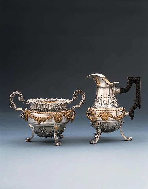 A Belgian parcel-gilt silver m