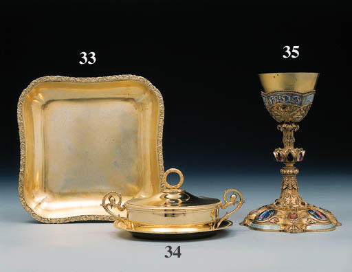 A French silver-gilt, hardston