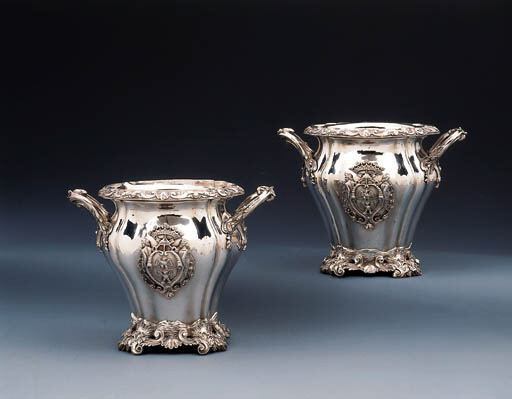 A Pair of Italian silver wine-coolers and liners