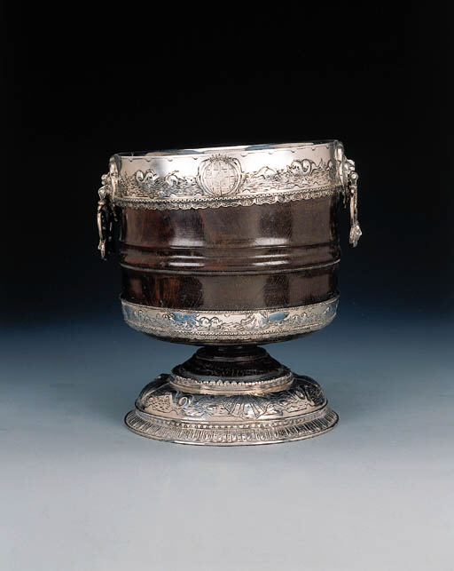 A Continental silver-mounted wood bowl