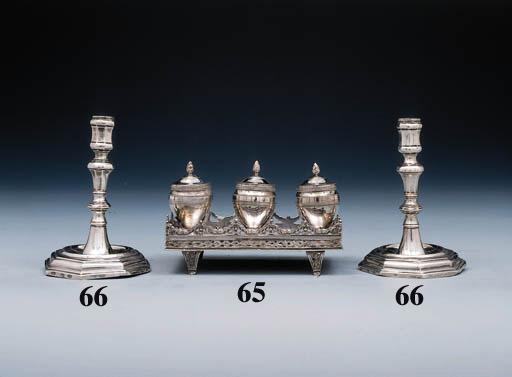 A pair of Italian silver candlesticks