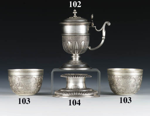 A pair of German silver-gilt t