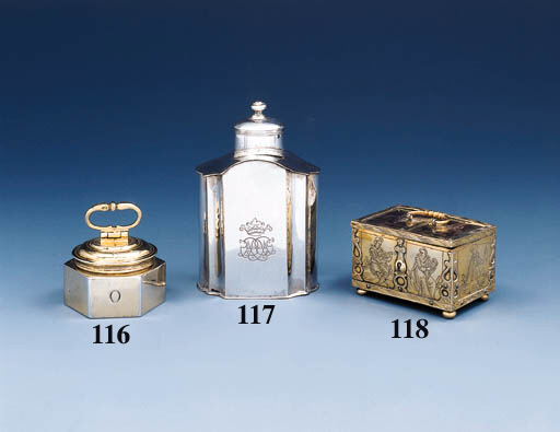 A German silver-gilt canister