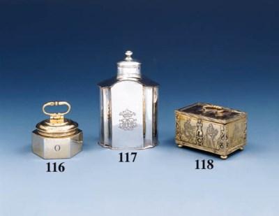 A German silver tea-caddy