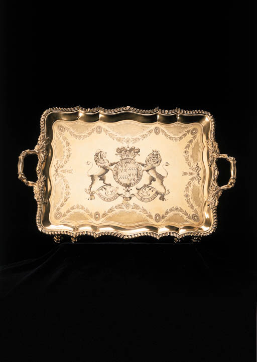A George IV silver-gilt tray