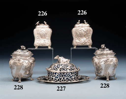 Two George II silver tea-caddi