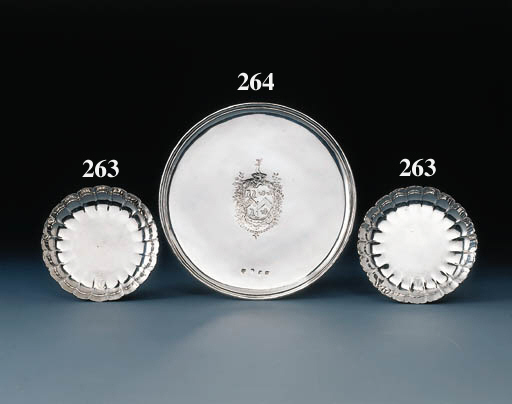 A pair of George I silver dish
