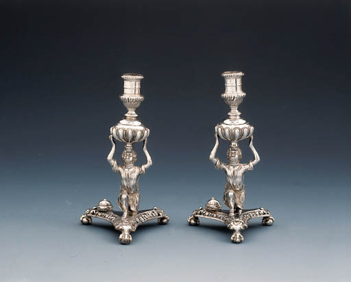 A pair of William III silver c