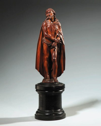 A CARVED WOOD FIGURE OF CHRIST