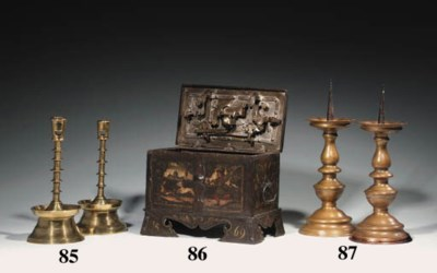 A PAINTED IRON STRONG BOX