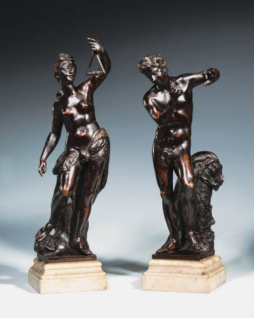 A PAIR OF BRONZE FIGURES OF A