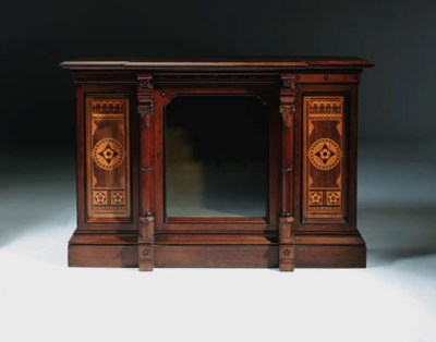 An inlaid oak cabinet