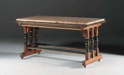 An ebonised and gilded marble-