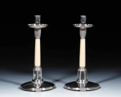 A Pair of Silver and Ivory Can