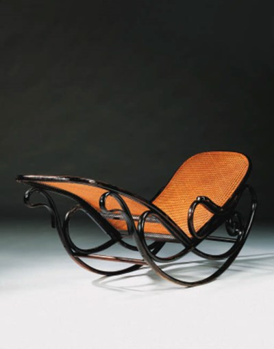 A bentwood and cane reclining