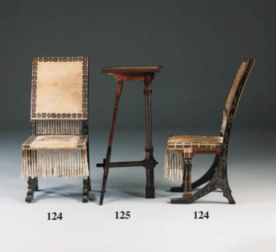 A pair of inlaid side chairs