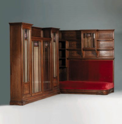 A carved bookcase 'Modele Les
