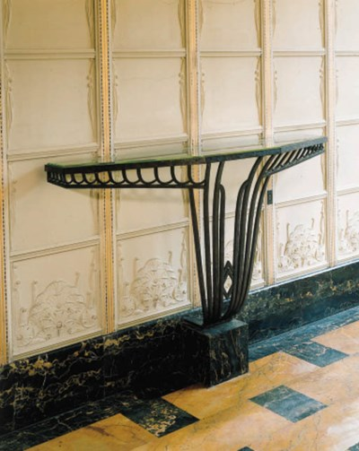 A Wrought Iron and Marble Cons
