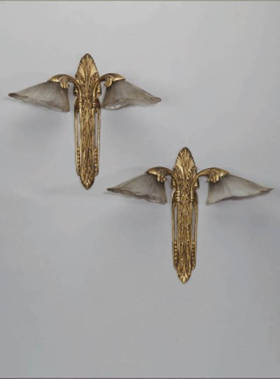 A Pair of Gilt Bronze Wall Lig