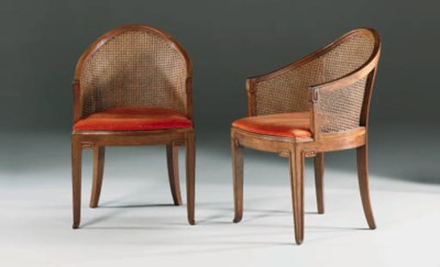 A Pair of Caned Walnut Bergere