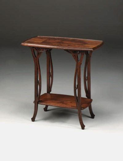 A two-tier marquetry table