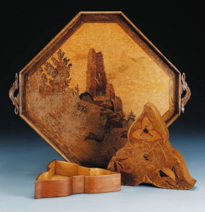 A Marquetry Box and tray
