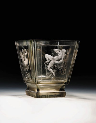 An Etched and Carved Glass Vas