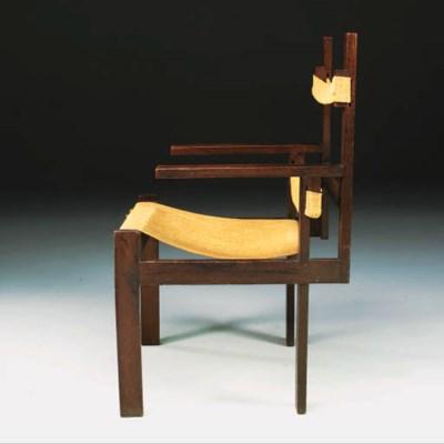 An oak lath armchair