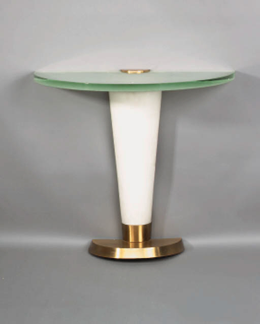A frosted glass and metal console table