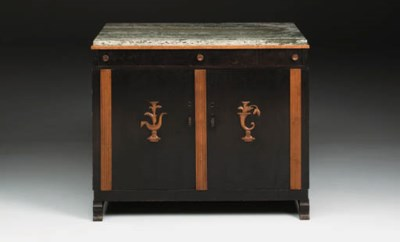 An ebonised and marble cabinet