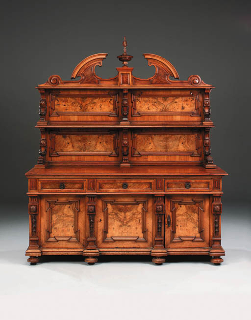 A French walnut, burr-walnut a