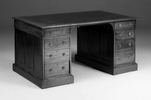A mahogany pedestal desk, 19th