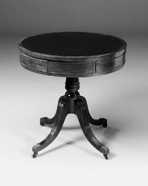A mahogany drum table, parts e