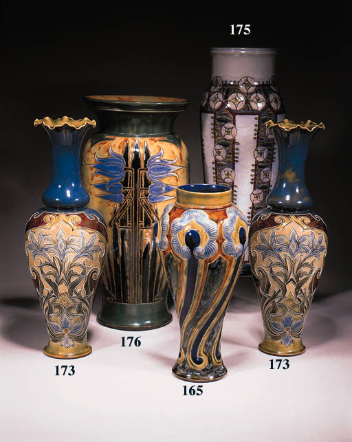 A large stoneware vase