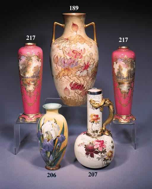 A pair of Lambeth vases