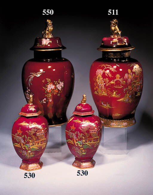 A pair of baluster vases