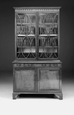 A mahogany bookcase, parts Geo