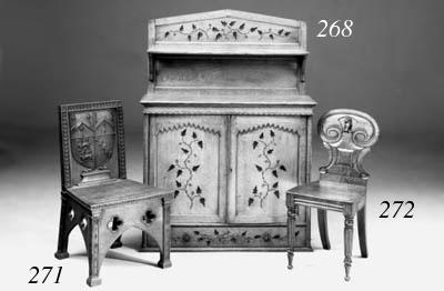 A Victorian oak hall chair