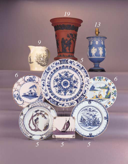 A pair of London delft blue an
