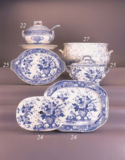 A Minton blue and white two-ha