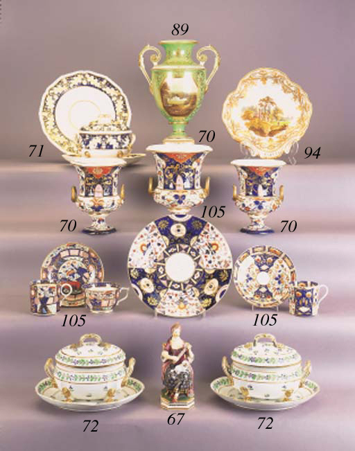 Two Derby Imari teacups and sa