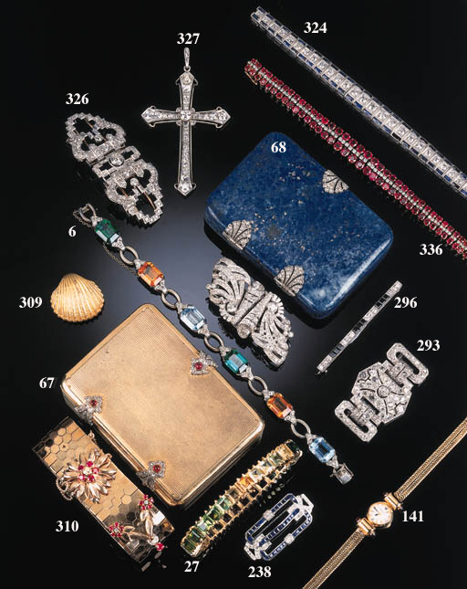 A diamond and gem six link bra